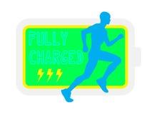 赛跑者电池充分地被充电的例证 库存图片