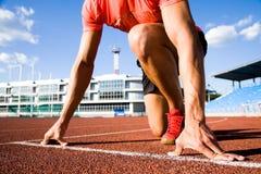 赛跑者起始时间 免版税库存照片