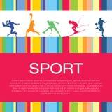 赛跑者,足球运动员,滑雪者,网球员,蓝球运动员剪影 库存例证
