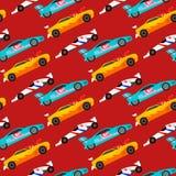 赛跑自动司机运输motorsport无缝的样式的体育速度汽车越野集会汽车五颜六色的快速的马达 免版税库存照片