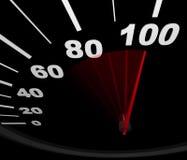 赛跑车速表的100英里/小时 免版税图库摄影