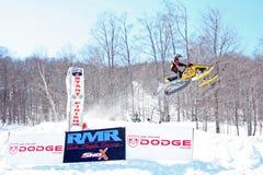 赛跑雪上电车种族的岩石槭树 免版税图库摄影