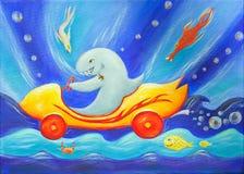 赛跑鲨鱼水中的汽车绘画 免版税库存照片