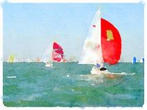 赛跑1的DW saiboats 免版税库存照片