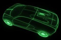 赛车全息图Wireframe 好的3D翻译 图库摄影