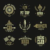 赛车和服务徽章和商标 库存图片
