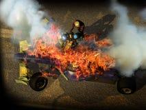 赛车悲惨的事故 免版税库存图片