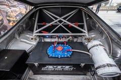 赛车的后车箱,汽油箱 免版税图库摄影