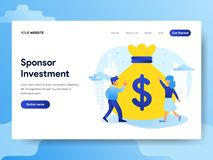 赞助投资概念登陆的页模板  网页设计的现代平的设计观念网站和机动性的 皇族释放例证