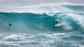 赞成冲浪者日落海滩夏威夷 库存图片