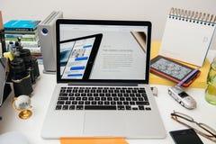 赞成苹果电脑新的iPad, iPhone 6s, 6s加上和苹果计算机电视 图库摄影
