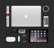 赞成苹果计算机产品技术大模型包括的macbook, ipad空气2, i 库存图片