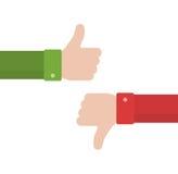 赞许和拇指下来在平的样式 免版税图库摄影