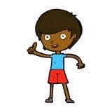 给赞许标志的可笑的动画片男孩 库存照片