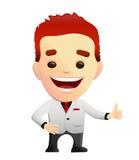 给赞许的一套白色衣服的微笑的人 免版税库存图片