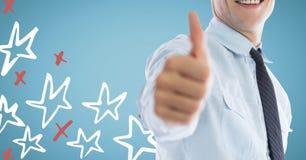 给赞许的商人中间部分反对与红色和白色手拉的星的蓝色背景 库存图片