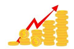 赢利金钱 企业成功,经济或者市场成长的概念 金钱,收入,股票 也corel凹道例证向量 隔绝在丝毫 库存例证