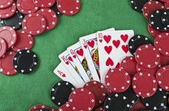 赢取的纸牌游戏手 免版税图库摄影