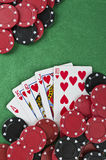 赢取的纸牌游戏手 免版税库存图片