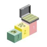 赢取仪式的 一个手提箱金钱,一团美元 免版税库存照片