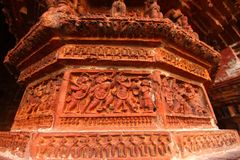 赤土陶器寺庙墙壁的历史人物 免版税库存图片
