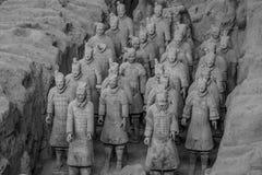 赤土陶器战士和马 免版税库存照片