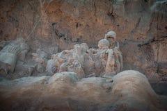 赤土陶器战士和马 图库摄影