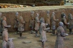 赤土陶器战士的古老中国文化遗产 库存照片
