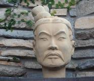 赤土陶器战士雕塑 免版税库存照片