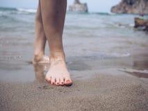 赤脚沙子 免版税图库摄影