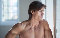 赤裸上身的肌肉男性画象  库存图片