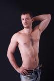 赤裸上身的英俊的人画象  免版税库存图片