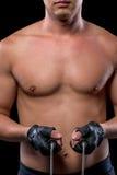 赤裸肌肉男性胸腔特写镜头 免版税库存照片