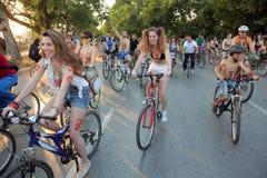 赤裸自行车比赛在塞萨罗尼基-希腊 免版税图库摄影