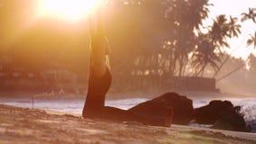 赤足夫人在瑜伽asana思考在沙滩 股票视频