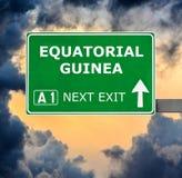 赤道几内亚反对清楚的天空蔚蓝的路标 免版税库存照片