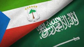 赤道几内亚和沙特阿拉伯旗子纺织品布料 皇族释放例证