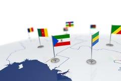 赤道几内亚旗子 免版税库存照片