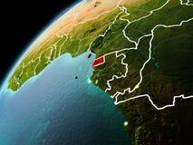 赤道几内亚的晚上视图地球上的 免版税图库摄影