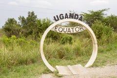 赤道横幅签到乌干达 免版税库存照片