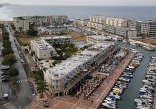 赫兹里亚小游艇船坞,以色列鸟瞰图  免版税库存照片