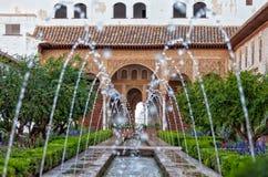 赫内拉利费宫的庭院在西班牙 免版税图库摄影