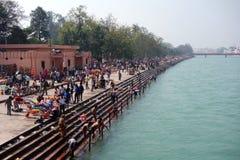赫尔德瓦尔Ardh Kumbh Mela沐浴 库存照片
