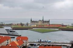 赫尔新哥市和克伦堡城堡,丹麦 图库摄影