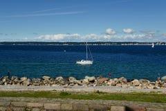 赫尔新哥,丹麦- 2016年7月19日:风船在一个美好的晴天 库存图片