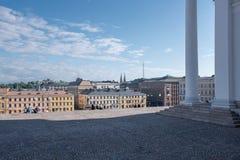 赫尔辛基大教堂和市地平线 库存照片