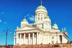 赫尔辛基大教堂在市中心 库存照片