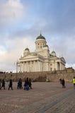 赫尔辛基大教堂在晚上 免版税库存照片
