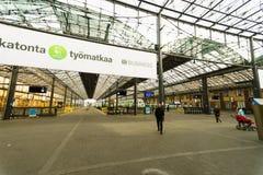 赫尔辛基火车站内部 免版税图库摄影