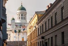赫尔辛基路德教会的大教堂的瞥见  库存照片